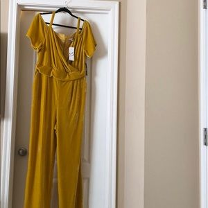New York & Company yellow cold shoulder jumper.